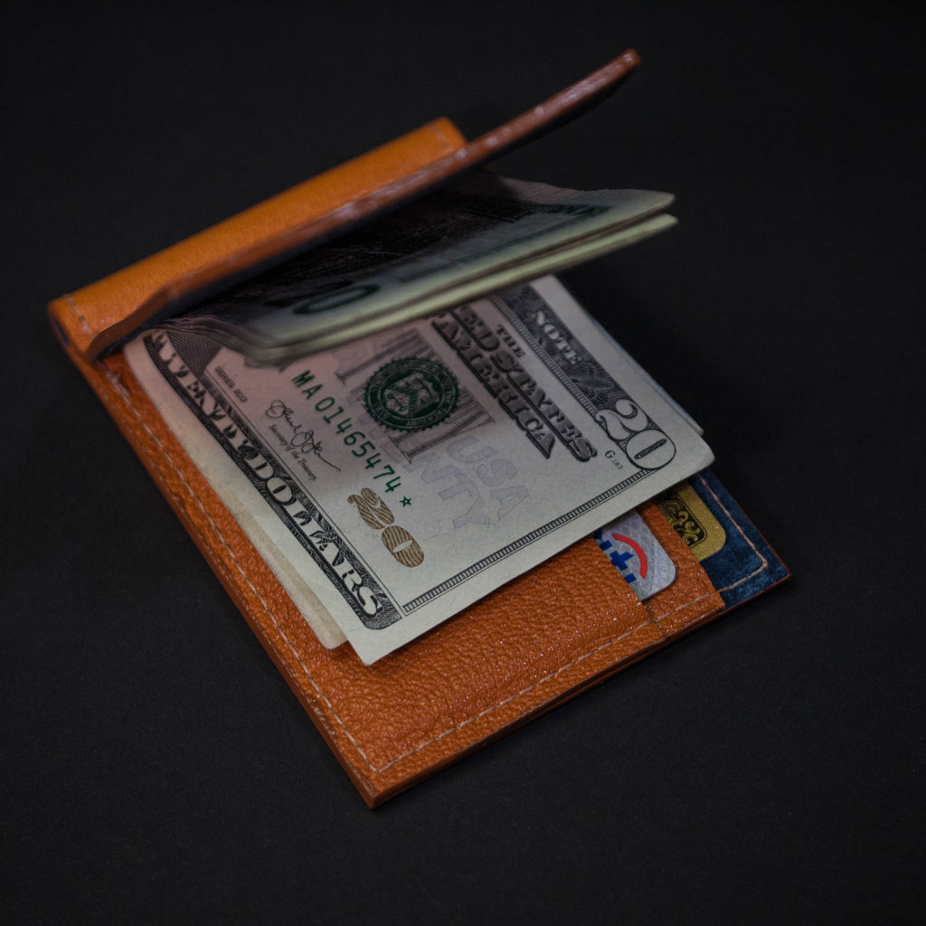 GOLDEN TAN WABASH MONEY CLIP LEATHER WALLET
