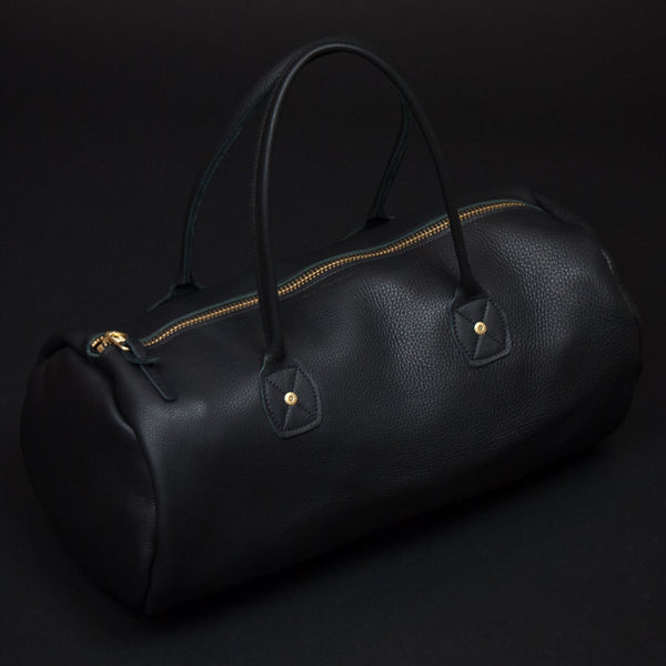 Wood & Faulk Leather Gym Bag Black at The Lodge