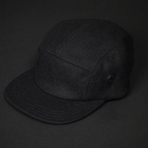5-PANEL BLACK WOOL CAMP HAT