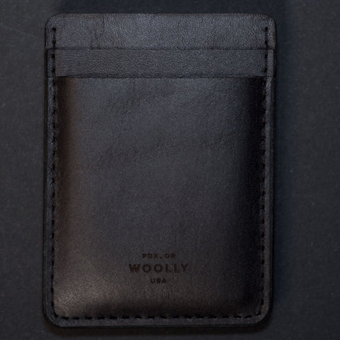 Woolly Leather Money Clip Card Wallet Black at The Lodge
