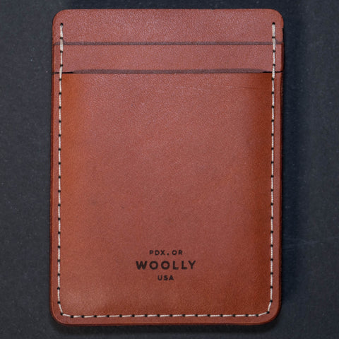 Woolly Leather Money Clip Card Wallet Brown at The Lodge