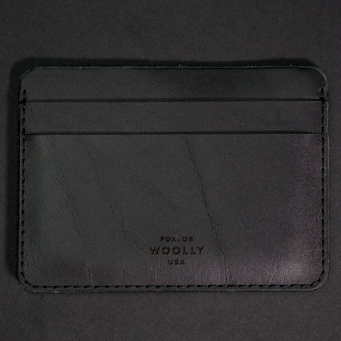 BLACK LEATHER HALF CARD WALLET WOOLLY