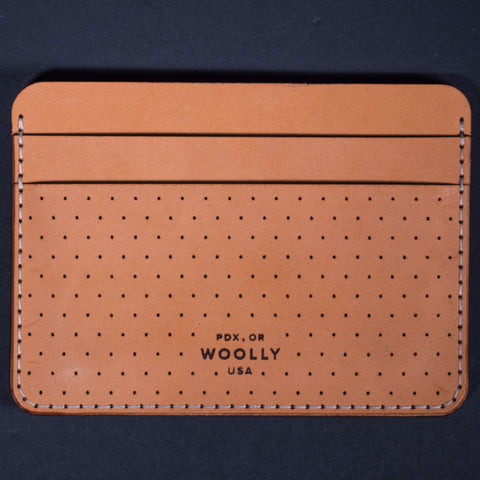 Woolly Half Wallet Tan Dots Leather at The Lodge Man Shop
