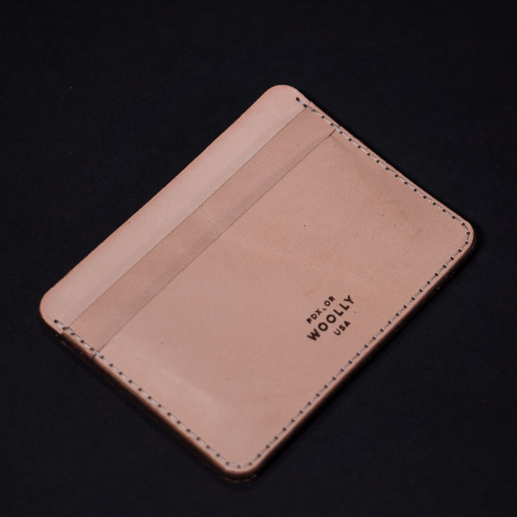 VEG TAN LEATHER HALF CARD WALLET WOOLLY