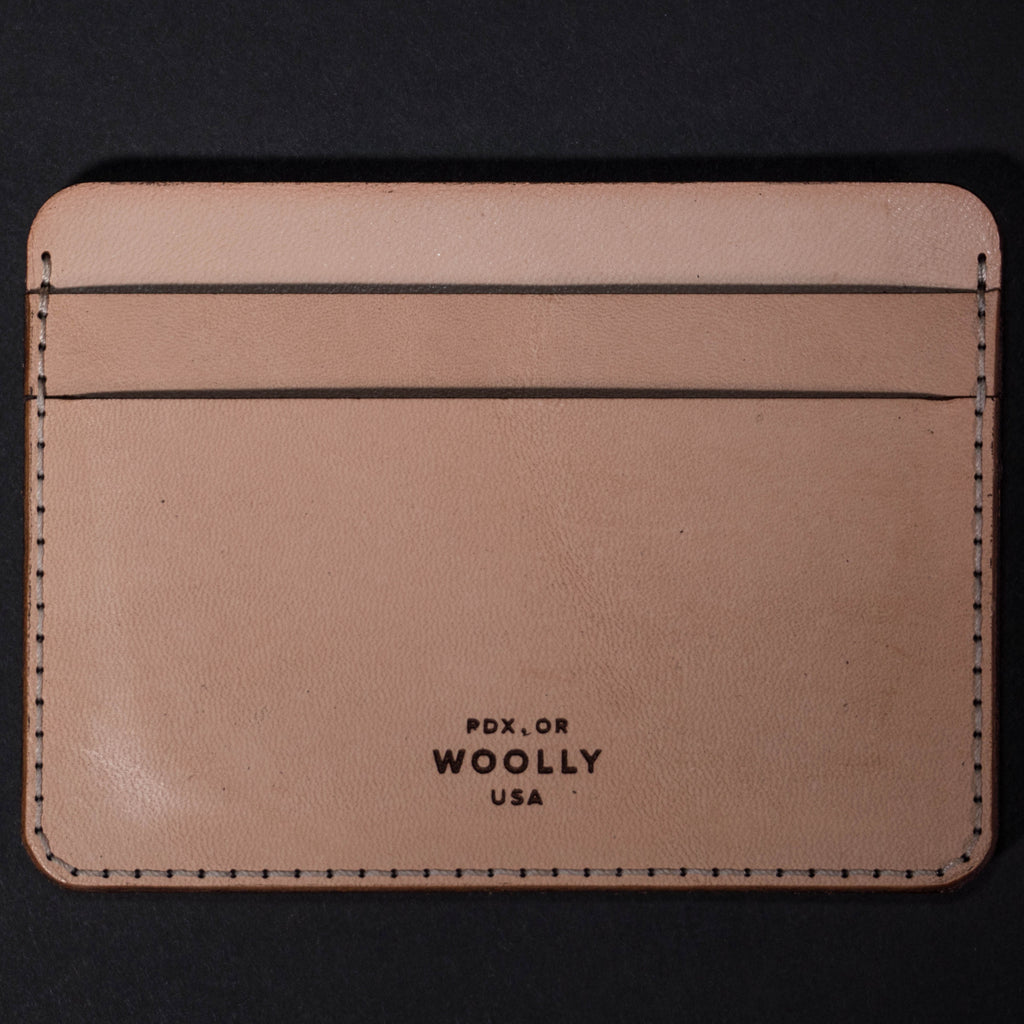 Woolly Vegetable Tanned Leather Half Wallet Natural at The Lodge Man Shop