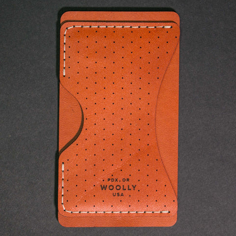 Woolly Leather Phone Wallet Brown Dots at The Lodge