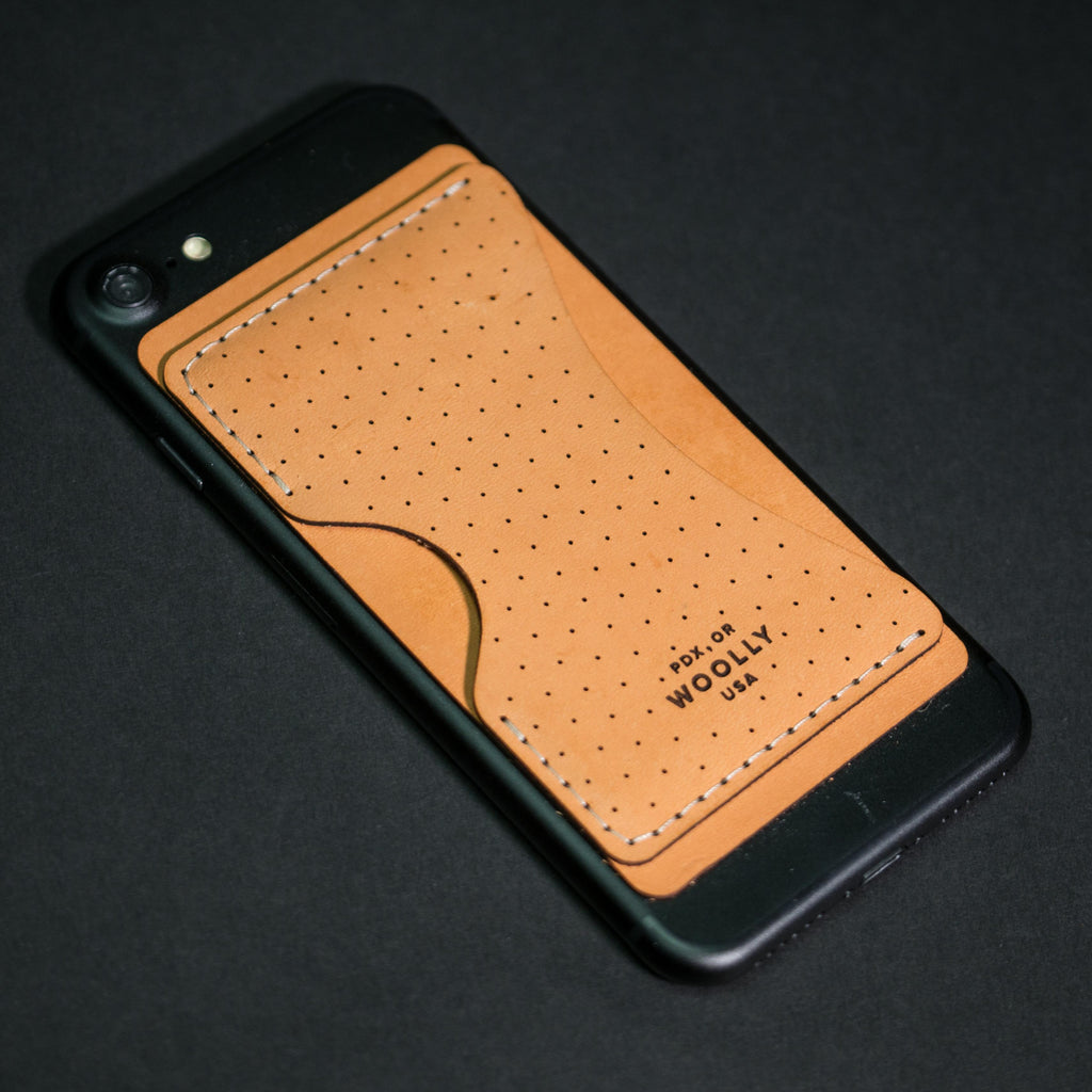 BROWN PHONE STICK-ON WALLET WOOLLY