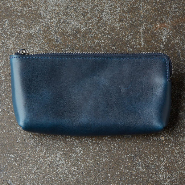 LAULOM NAVY HORWEEN LEATHER UTILITY POUCH SMALL