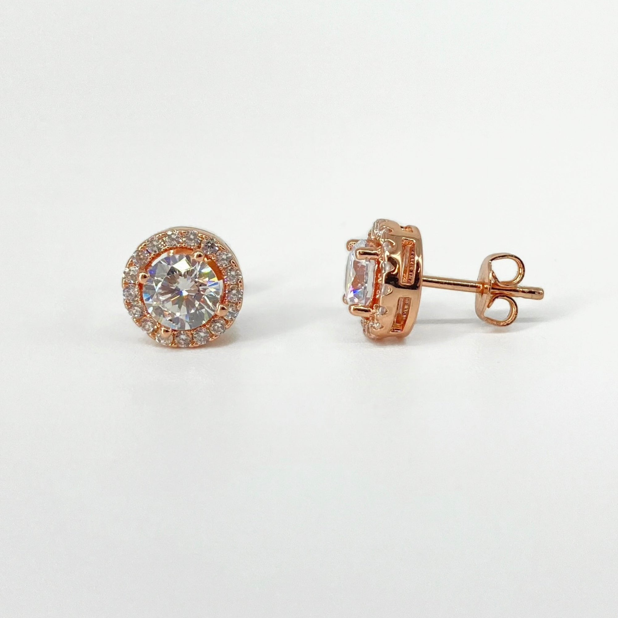 Rose Gold Victoria Diamond Simulant Earrings