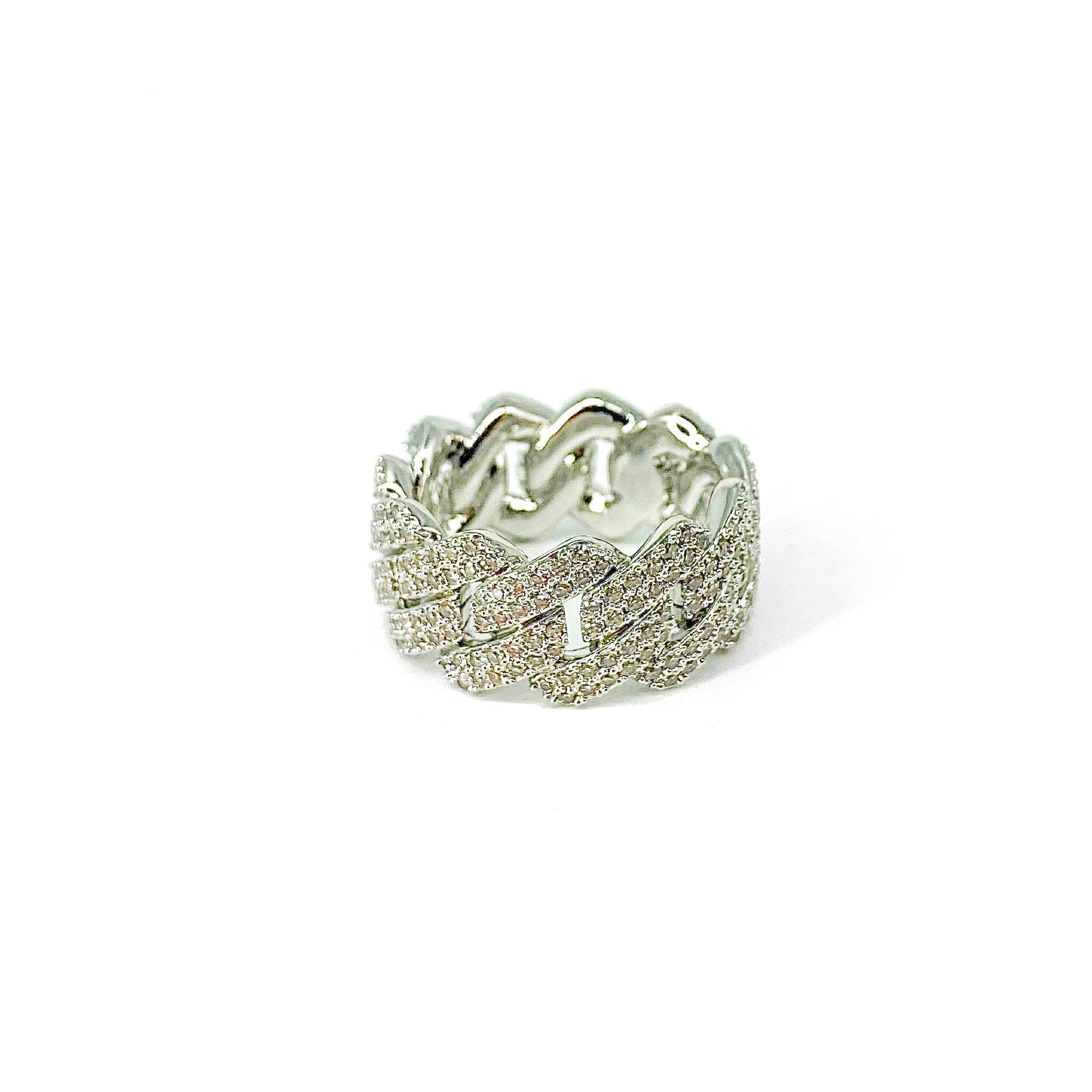 Finger Drip Iced Out Link Ring