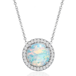 Classic Sapphire Halo Necklace