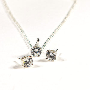 """A Girl's Bestfriend"" Silver Earrings & Pendant Set"