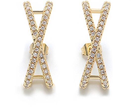 Diamond Simulant Criss-Cross Earrings