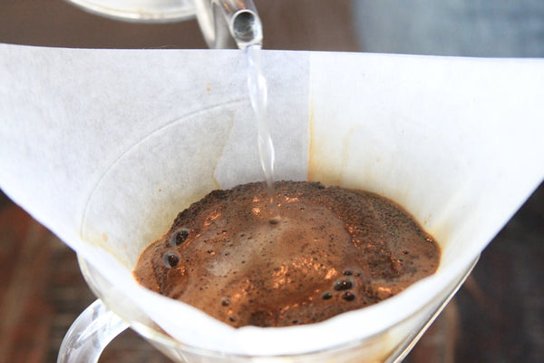 Step 4: To start pour, aim for the bed of coffee and only pour 2-3 oz (50-60g), this will start the bloom process.