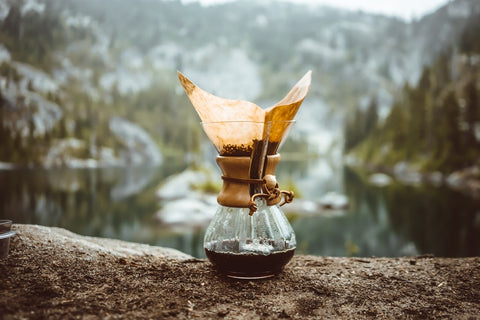 Picture of a chemex brewer outside