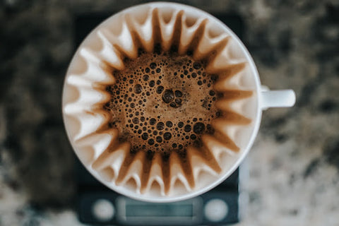 Coffee in a filter on a scale