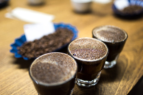 Coffee connoisseur attends coffee cupping