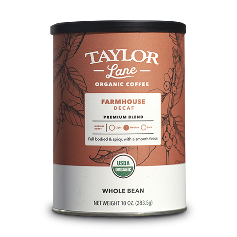 organic Farmhouse Decaf premium blend whole bean