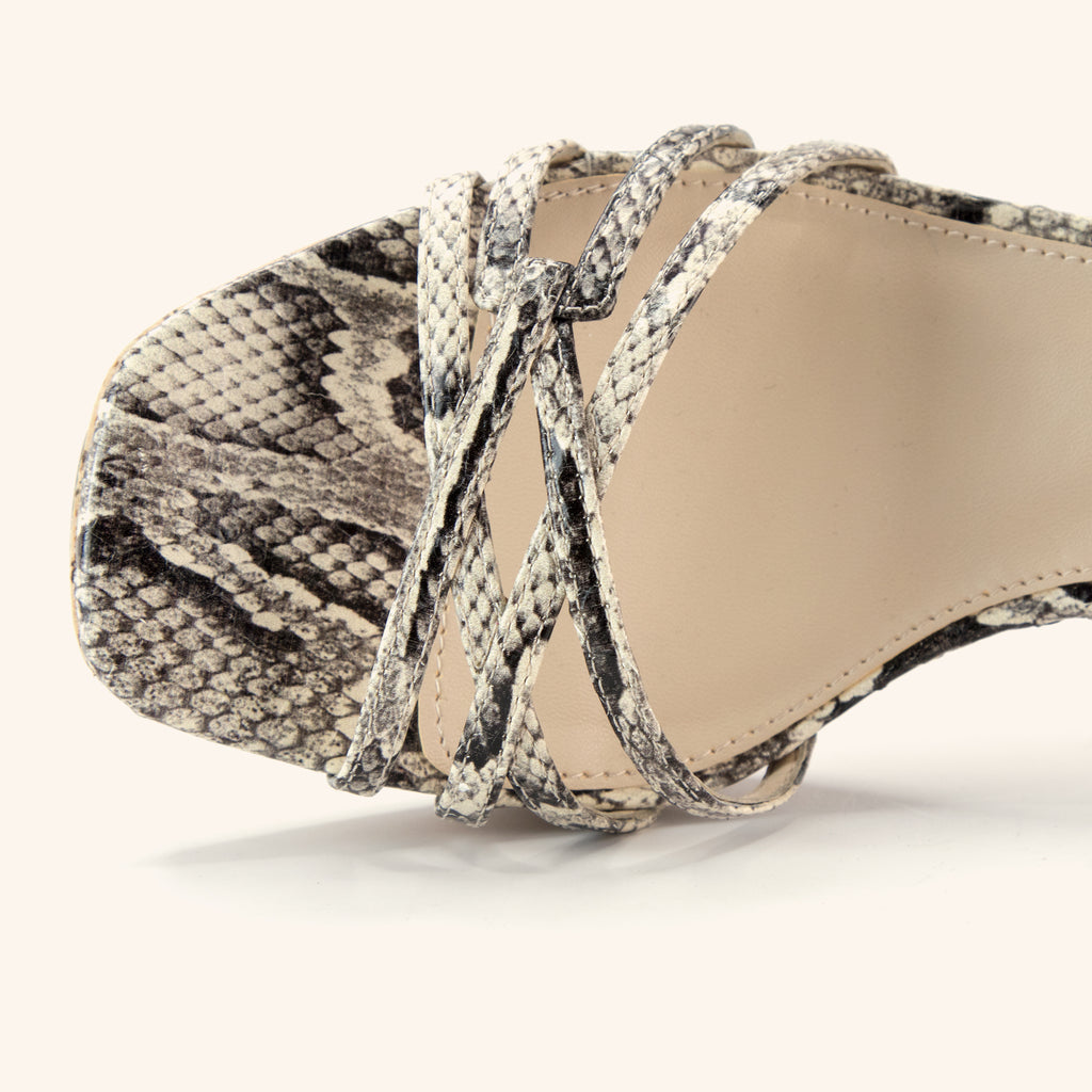 Amy 2 (Black/White Snake Leather) 40% Off