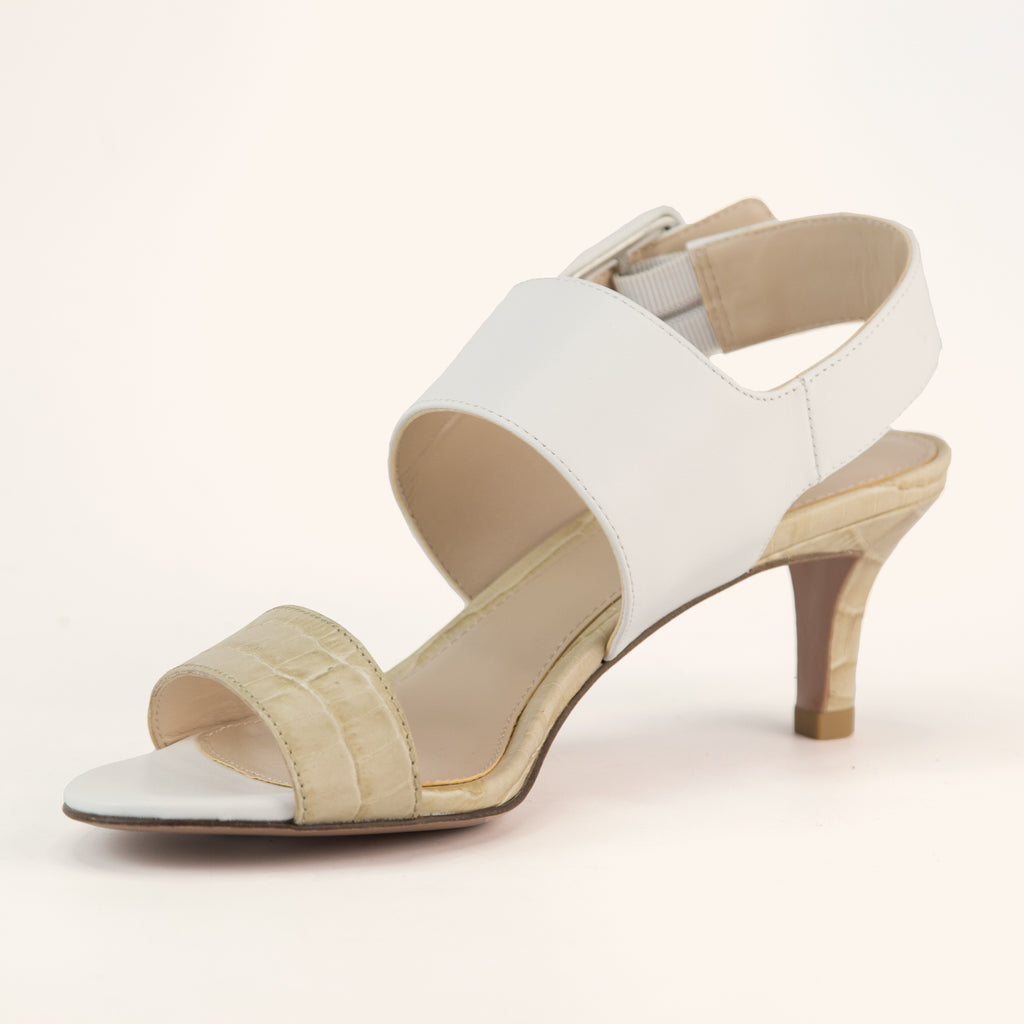 Bixby  (White/Sand/  Calf Leather/Croc Print Leather) 70% Off