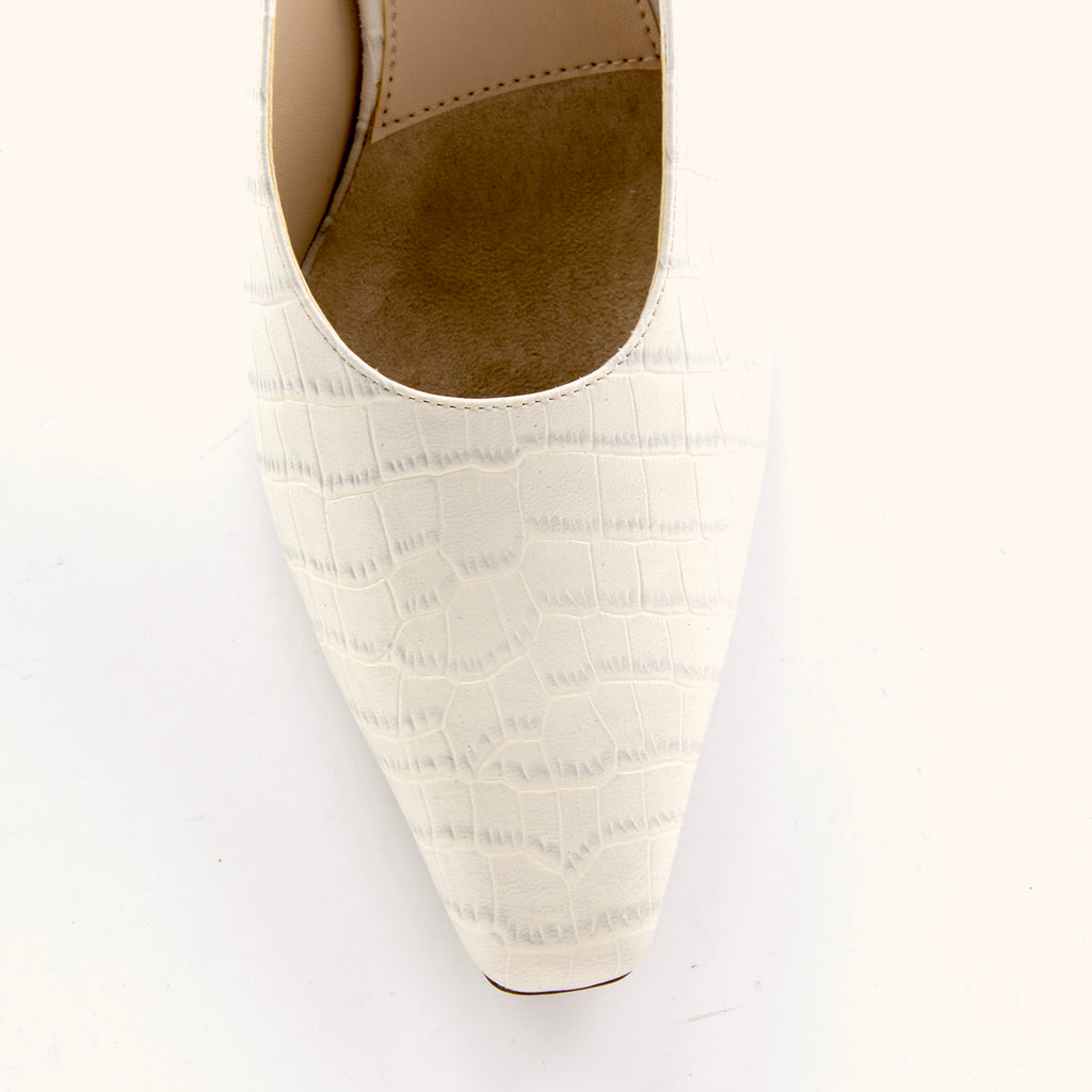 Brandy (Bone / Embossed Croco Print Leather)