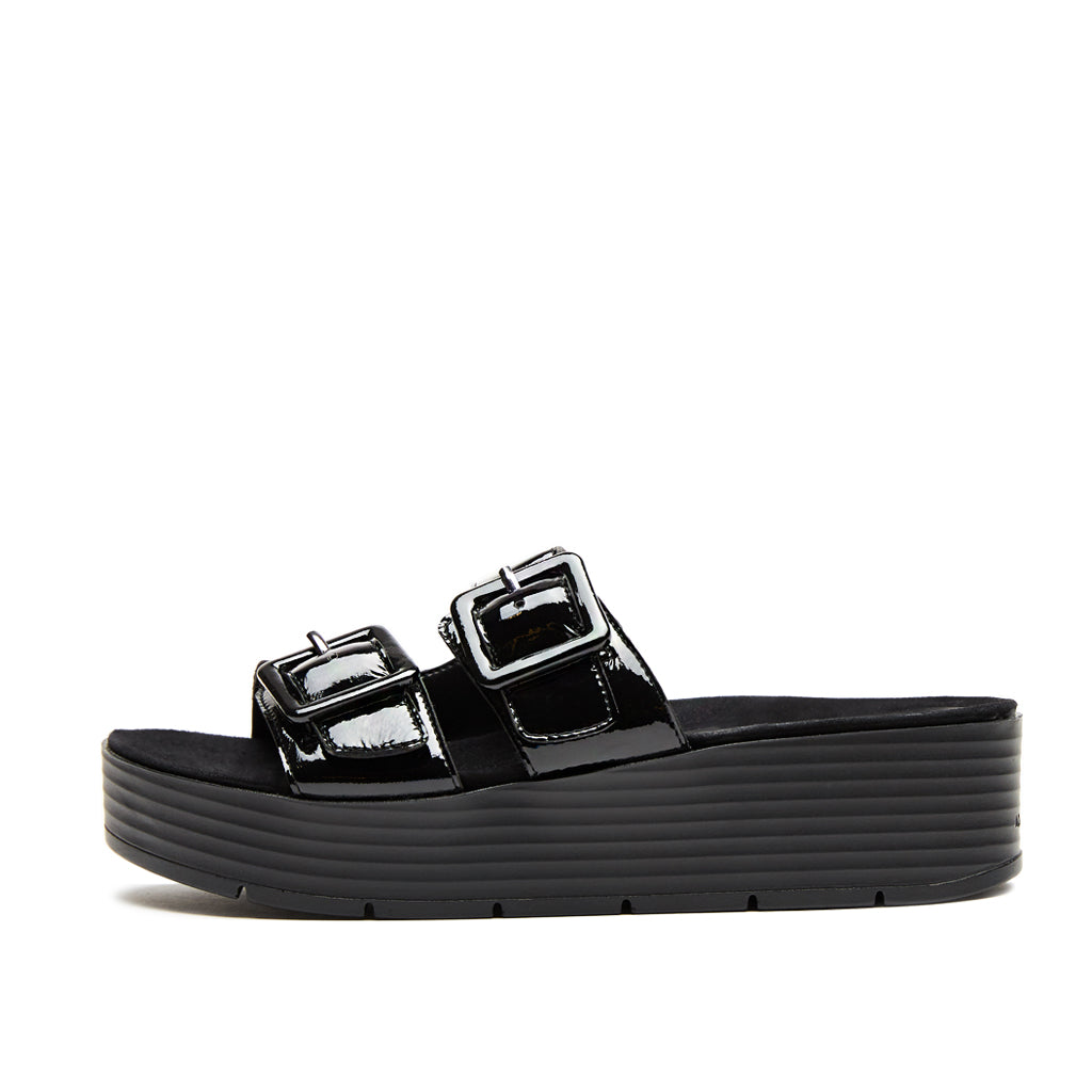 Fatima (Black Crinkle Patent Leather) 50% Off
