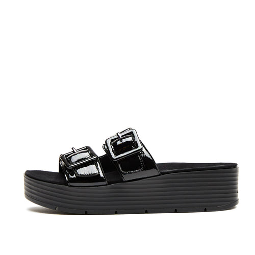 Fatima (Black Crinkle Patent Leather) 60% Off