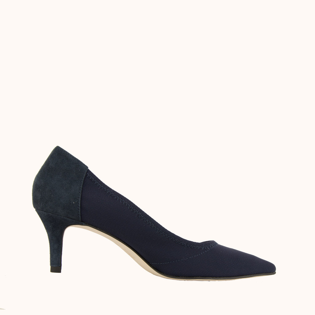Hilda (midnight stretch mesh / kid suede)