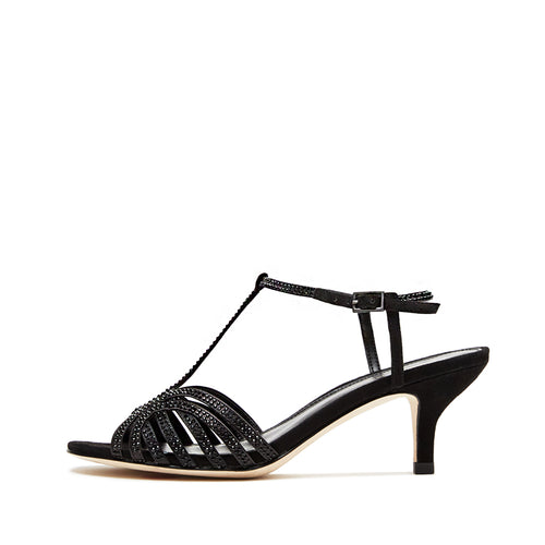 Ilane (Black / Satin/Kid Suede Combo) 30% Off