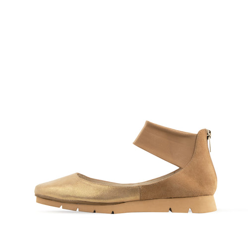Jamie (Platino Shimmer Suede/Sand kid Suede/Stretch Mesh) 25% Off