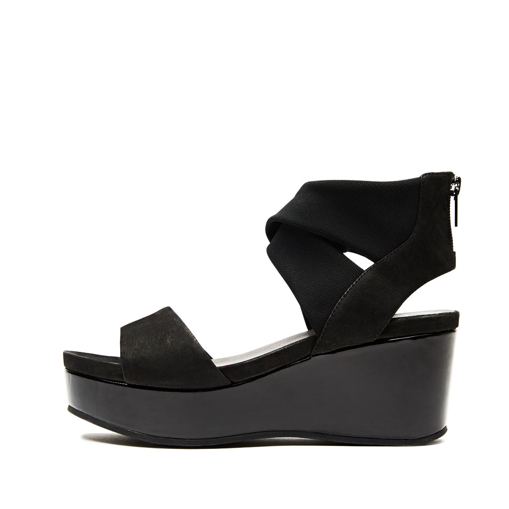 Lilo ( Black Nubuck  Leather/ Stretch Mesh)