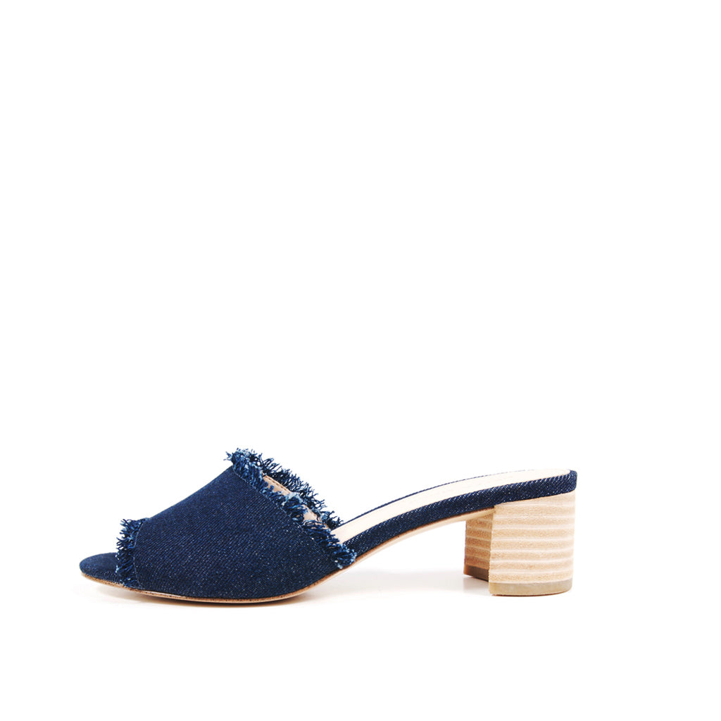 Pelle Moda - Rea - Indigo Denim Slide Sandals