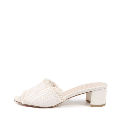 Pelle Moda - Rea - White Herringbone Slide Sandals