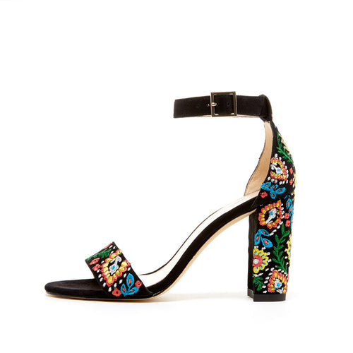 Bonnie 4 (Black / Kid Suede Embroidery) - PELLE MODA