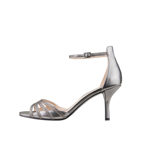 Isabel (Pewter / Silk / Metallic Kid Nappa Leather) - Pellemoda.us  - 1