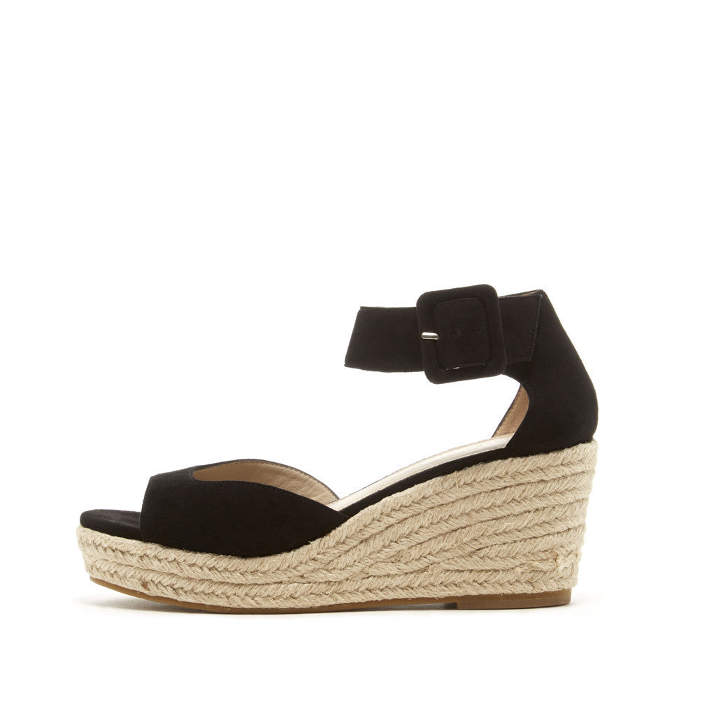 70e4a30efe Pelle Moda KYRA Black Suede Lace Up Wedge | Women's Wedges ...