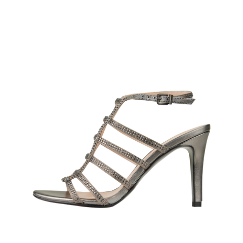 Nell 2 (Pewter / Silk / Metallic Kid Nappa Leather) - 40% Off - Pellemoda.us  - 1