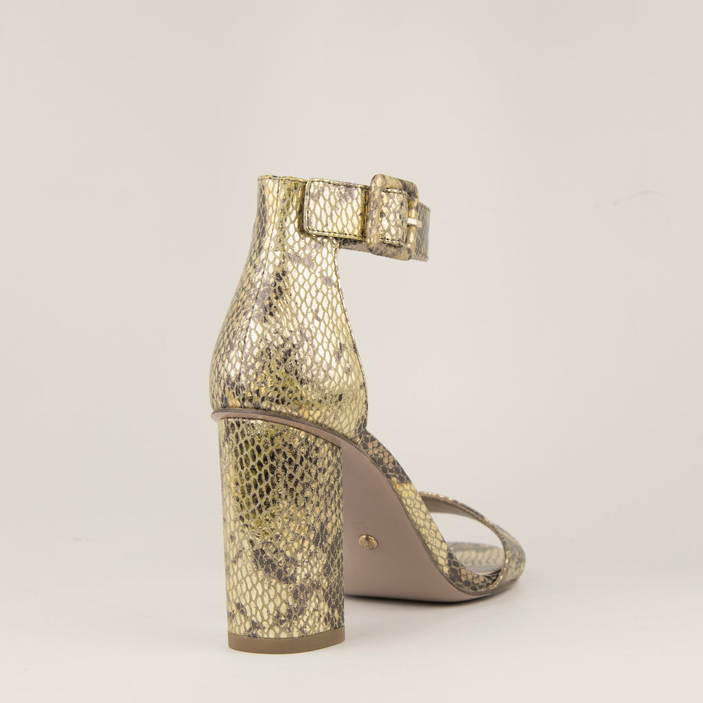 Zoey Block Heel - Gold Multi