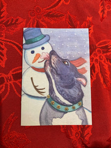 "Holiday Cards ""Elroy and his Snowman"" 3x5 in. folded cards"