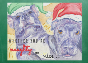 "NEW! Holiday Cards ""Naughty or Nice"" 5x7 in. folded cards"