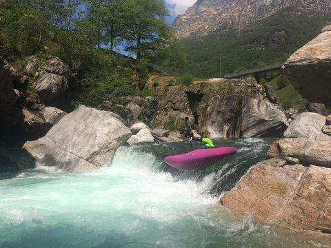 kayaking a drop in the Verzasca valley