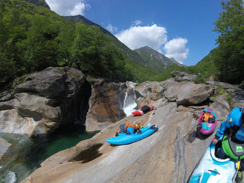 The group getting on the water as the Verzasca valley