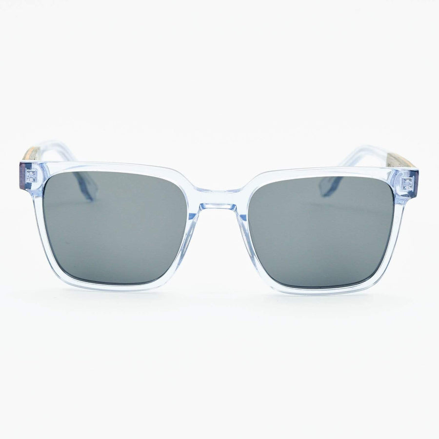 Sennen - Wood & Acetate Polarized Sunglasses - Clear Blue