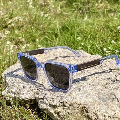 dewerstone Wooden Sunglasses Sennen - Wood & Acetate Polarized Sunglasses - Clear Blue