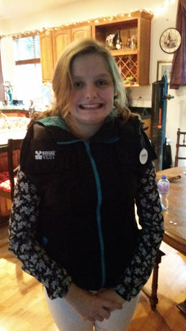 Juliette Beegle, a 15 year old with autism spectrum disorder, wearing her Snug Vest to get Deep Pressure Therapy