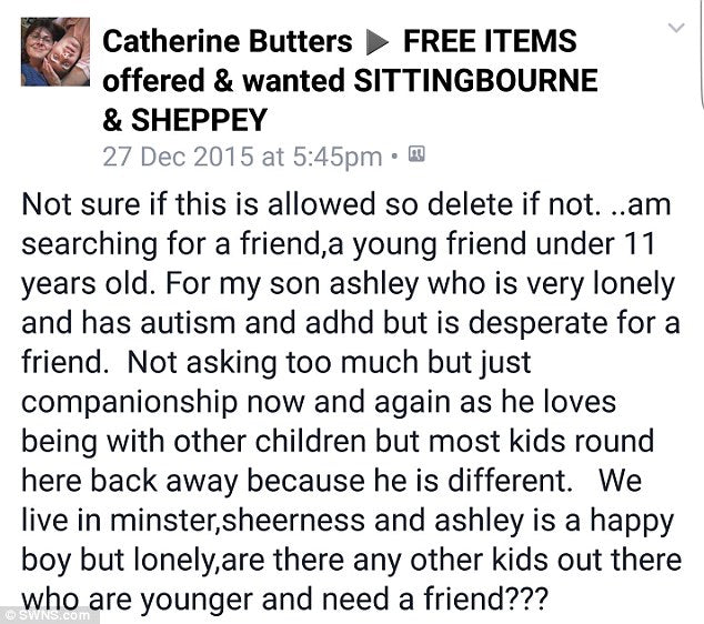 Catherine Butter's open letter to find a friend for her autistic son