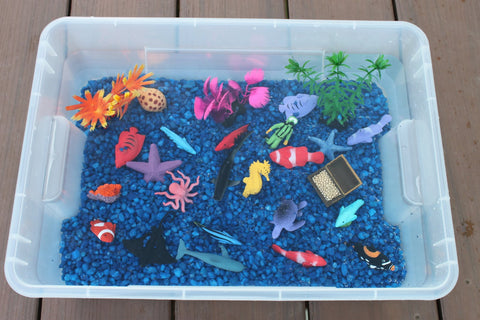 Ocean sensory bin for children and individuals with autism