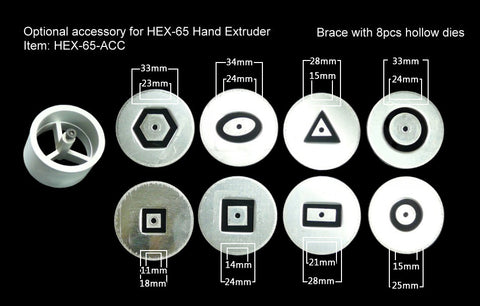 HEX-65-ACC - Extruder - Hand - Die Set of 8