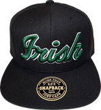 Irish Black Snapback Script Green and white