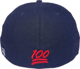 100 Emoji Hat 216 Area Code Fitted Navy Back